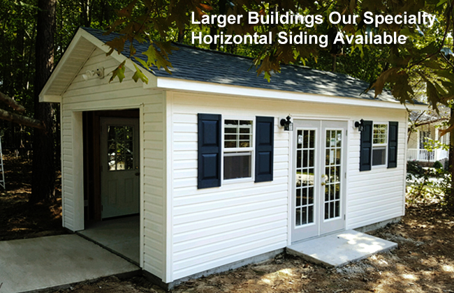 Large buildings, sheds with garage doors,Vinyl Hardie plank