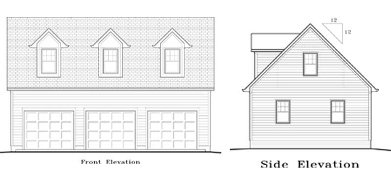 Garage Plan 24×36 Three Car Garage Story and Half