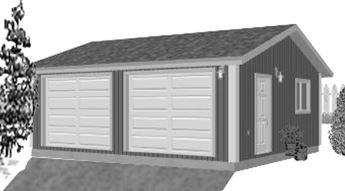 Garage Plan 24×22 Two Car Garage G528