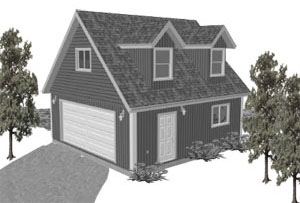 Garage Plan 24×24 Loft Two Car Garage G527