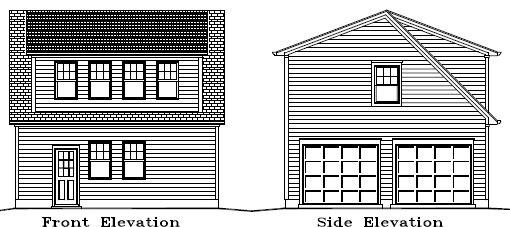 Garage Plan 24×24 Two Car Garage Apartment Double Door Walkup